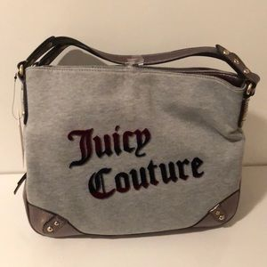 Juicy Couture sweater material & leather hobo bag